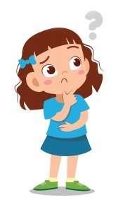 cartoon drawing of girl thinking