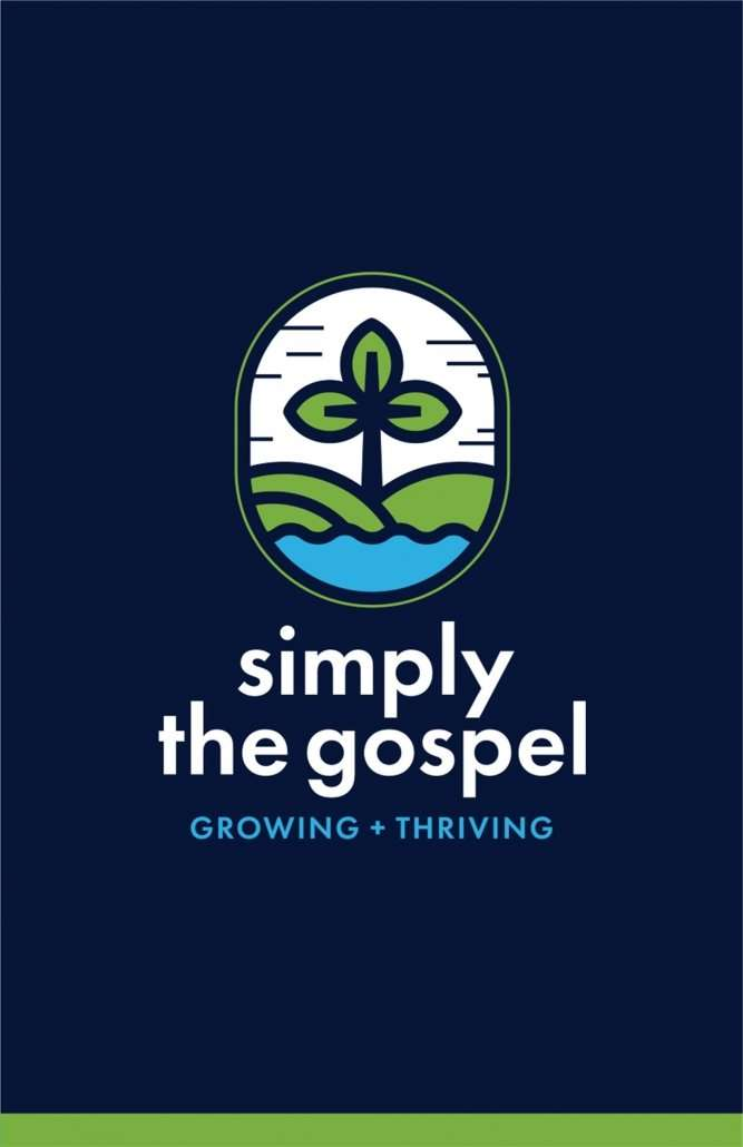 Simply the Gospel stacked logo on blue